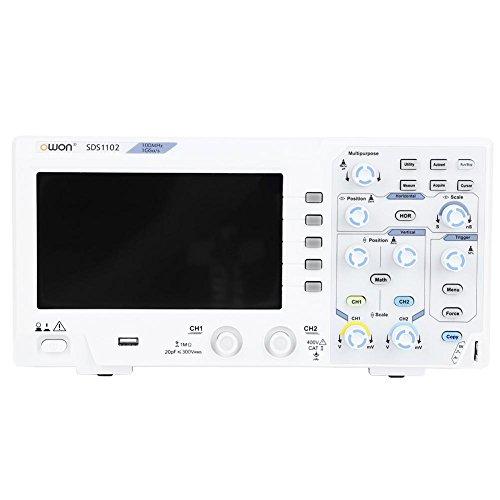OWON SDS1102 Osciloscopio digital 8Bits 2 canales Ancho de banda de 100MHz Tasa de muestreo 1GS / s Escala horizontal LCD a color de 7'(s/div): 2ns / div - 1000s / div paso por 1-2-5