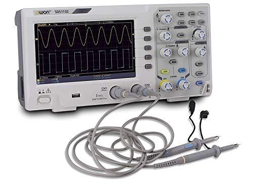 Ccfoud Owon SDS1102 Osciloscopio Digital, Kit de Osciloscopio USB Profesional, 2 Canales, Pantalla LCD 7 Pulgadas, 1GS/ s, 100 MHz